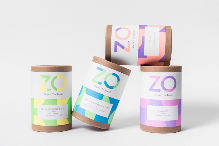 Die Labels bieten eine bemerkenswerte Vielseitigkeit in Bezug auf Druck und Produktion. ©: Zo Tea packaging using Colorplan Labels, photographed by Handover Agency.